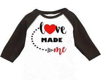 Love Made Me Toddler Baseball Raglan T-shirt, Valentines Day Shirt, Kids Valentines Day Shirt, Toddler Valentines Shirt, Toddler Tee