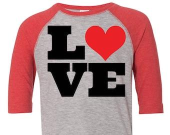 Love Heart Toddler Baseball Raglan T-shirt, Valentines Day Shirt, Kids Valentines Day Shirt, Toddler Valentines Shirt, Toddler Tee, Love Tee
