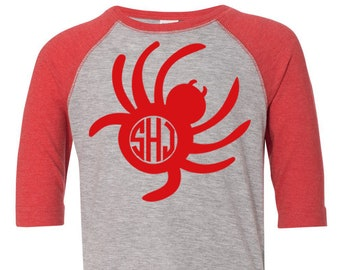 Kids Monogram Halloween Shirt- Spider Monogram Shirt- Halloween Spider Shirt- Girls Halloween Shirt- Boys Halloween Shirt- Monogram shirt