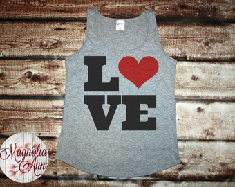 Love Heart Women's Tank Top in 6 colors in Sizes Small-4X, Plus Size