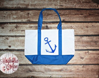Large Anchor Zippered Boat Tote Bag in Royal Blue, Navy Blue & Black