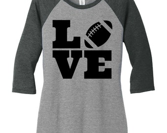 Love Football, Sports, Baseball Raglan 2 Tone 3/4 Sleeve Womens Tops Shirts in Sizes Small-4X, Plus Size