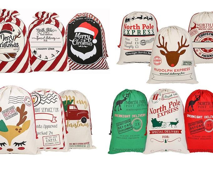 Featured listing image: Personalized Santa Sack, Canvas Santa Sack, Santa Sack, Custom Santa Sack, Christmas Gift Sacks. Santa Bags. Canvas Santa Bag, Christmas Bag