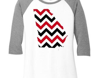 Georgia State Red, Black & White Chevron Design, Baseball Raglan 2 Tone 3/4 Sleeve Womens Tops Shirts in Sizes Small-4X, Plus Size