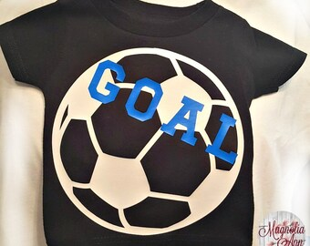 Soccer Goal, Kids Childrens Sports, Toddler T-Shirt in White, Blue & Pink in Sizes 2T-5/6