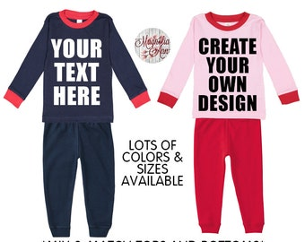 Custom Kids Pajama Set, Christmas Pajamas, Toddler Pajamas, Baby Pajamas, Personalized Kids Pajamas, Girl Pajamas, Boy Pajamas, Christmas PJ