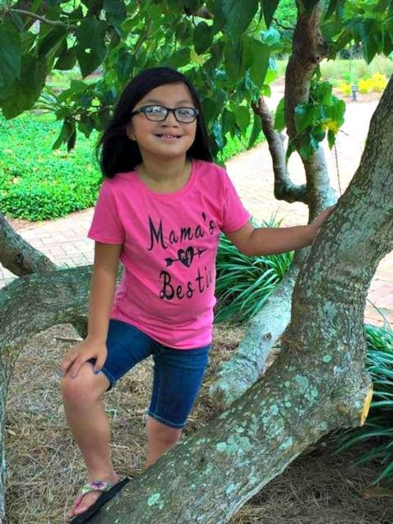 Mama's My Bestie Heart Arrow Little Girls Graphic T-Shirt Sizes XS-XL in White & Hot Pink