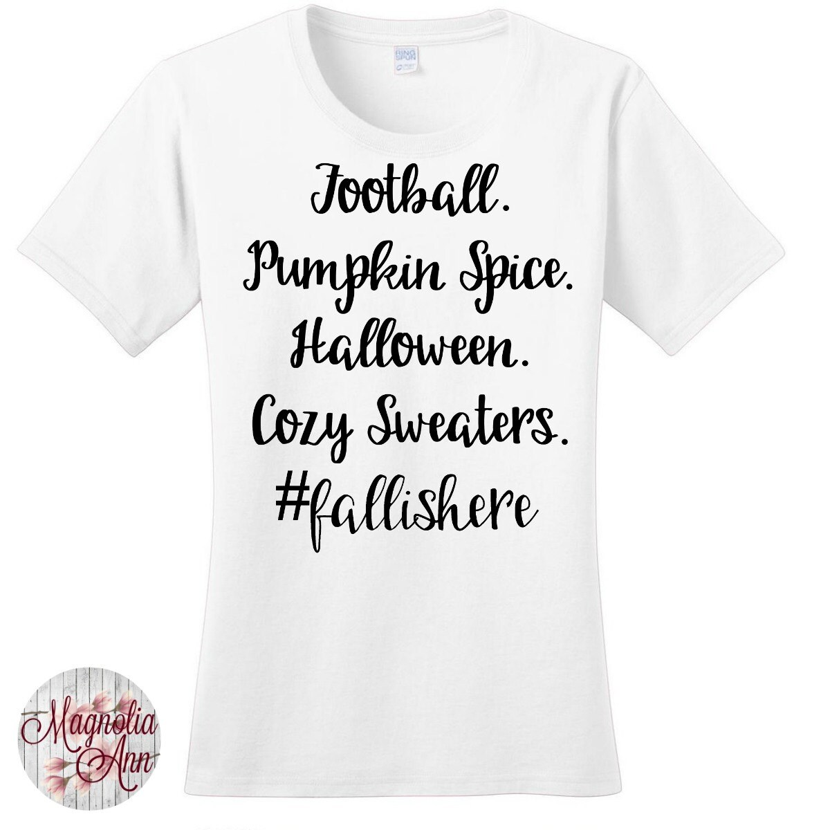 5e5440c50 Football Pumpkin Spice Halloween Cozy Sweaters #fallishere Women's Graphic  T-shirt in 7 Different Colors in Sizes Small-4X, Plus Size
