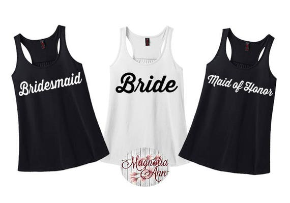 Bride, Bridal Party Tanks, Wedding Party, Bachelorette Tanks, Women's Racerback Tank Top in 9 Colors in Sizes Small-4X, Plus Size
