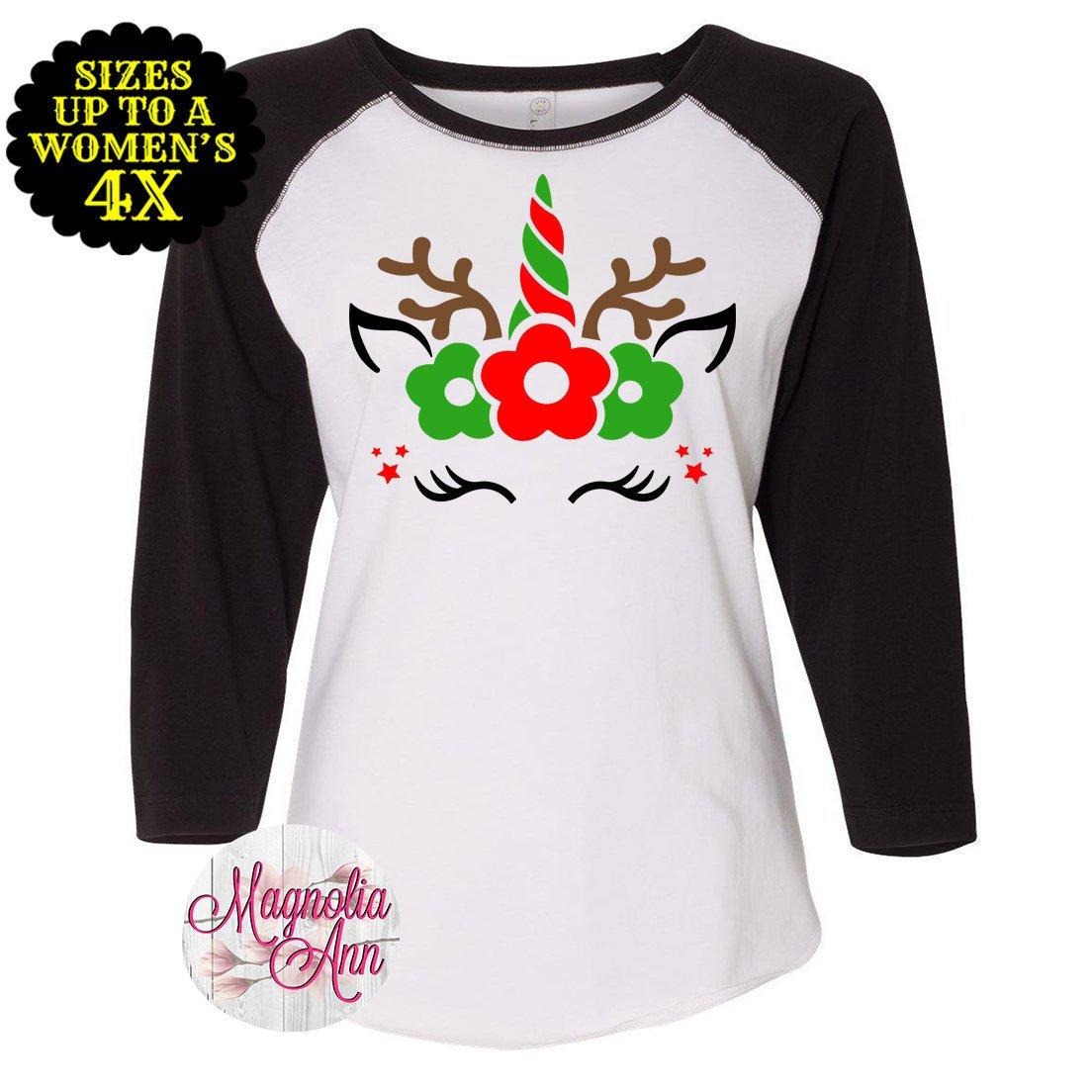 Unicorn Reindeer Shirt, Family Christmas Shirts, Plus Size Christmas ...