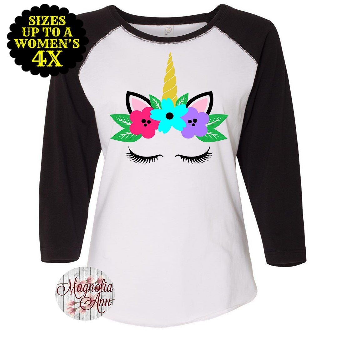 5af6ad78 Unicorn Baseball Raglan T Shirt, Unicorn Shirt, Plus Size Unicorn ...