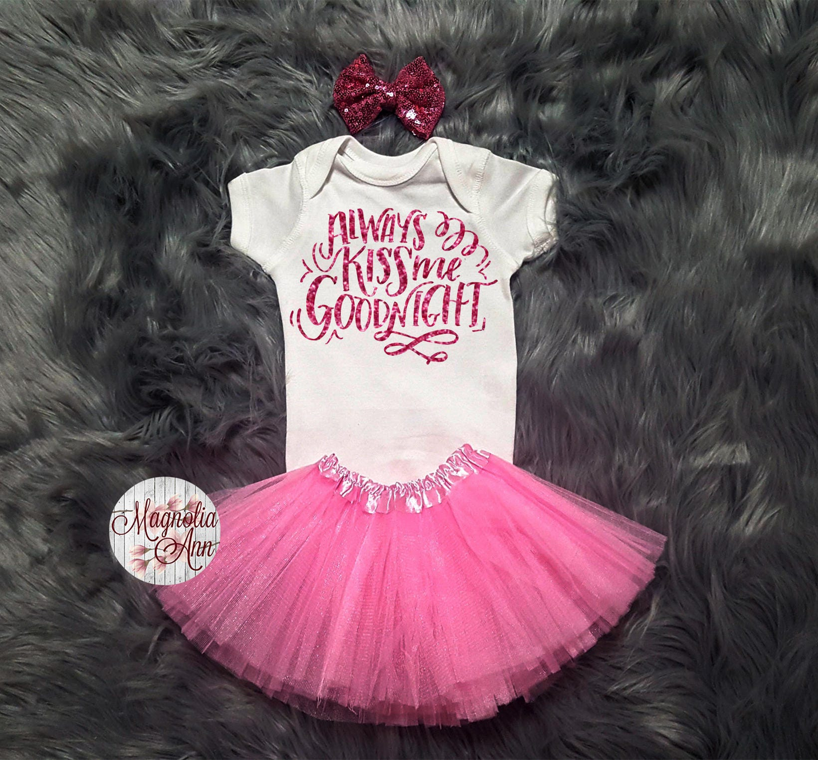Always Kiss Me Goodnight Valentines Outfit Toddler Valentines Day