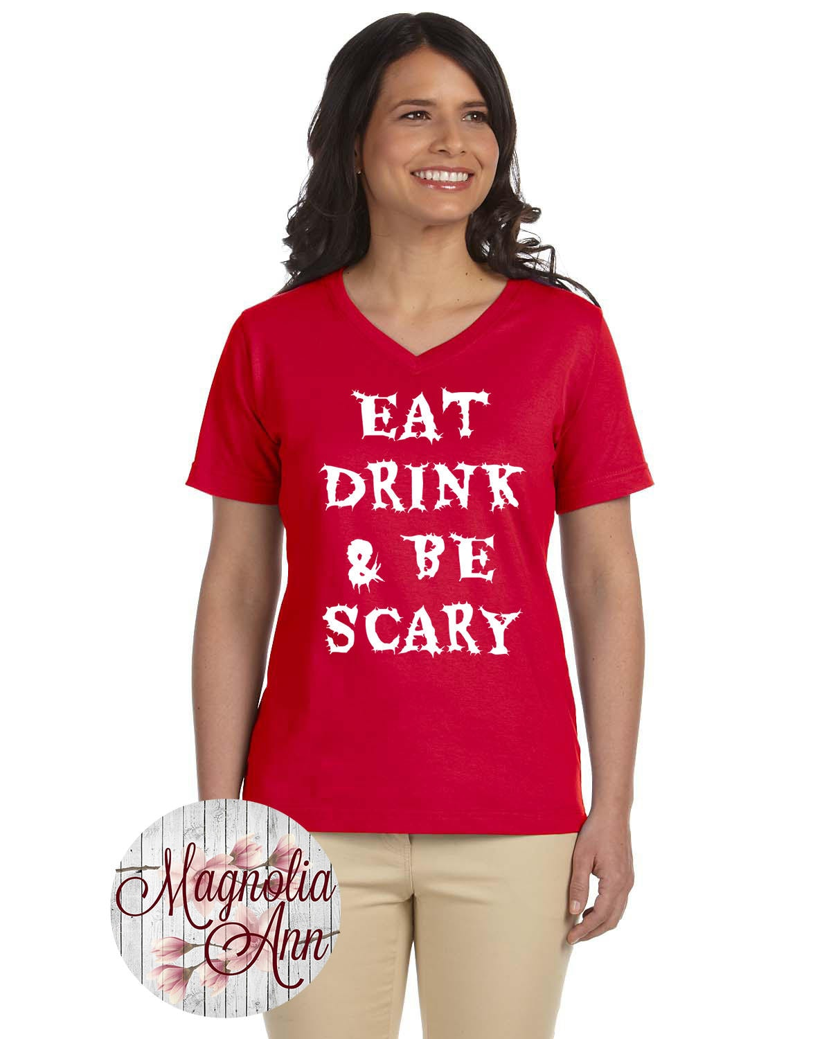eat drink and be scary womens v neck t shirt plus size clothing plus size halloween halloween tee halloween t shirt halloween shirt
