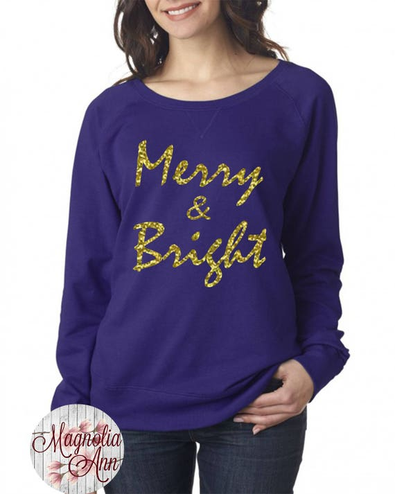 Merry And Bright, Slouchy French Terry Pullover Sweatshirt, Small-4X, Plus Size Clothing, Christmas Shirt, Christmas Sweater, Christmas Tees
