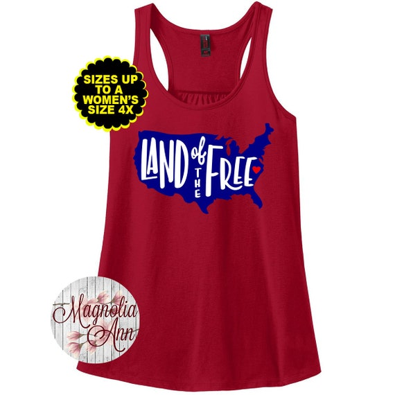 Land of the Free, Home of the Brave, 4th of July Shirt, Patriotic Tank Top, Plus Size Patriotic Tank, Plus Size 4th of July Shirt, Curvy