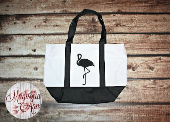 Large Flamingo Zippered Boat Tote Bag in Royal Blue, Navy Blue & Black