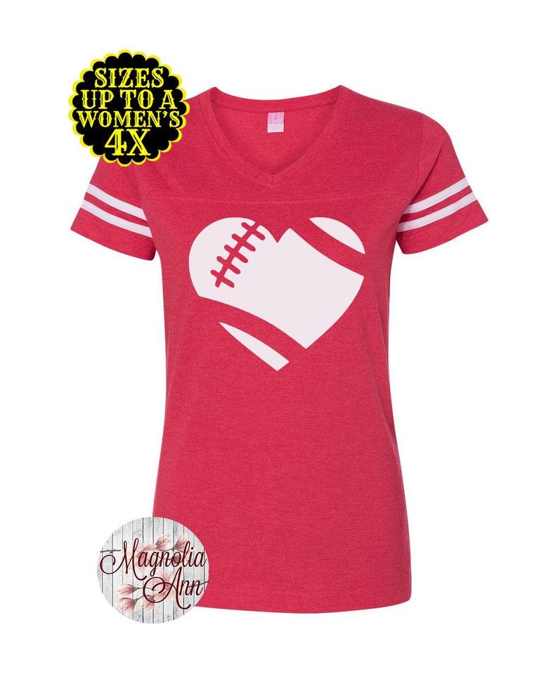 7616e03f65 Heart Love Football Shirt Womens Football Shirt Football
