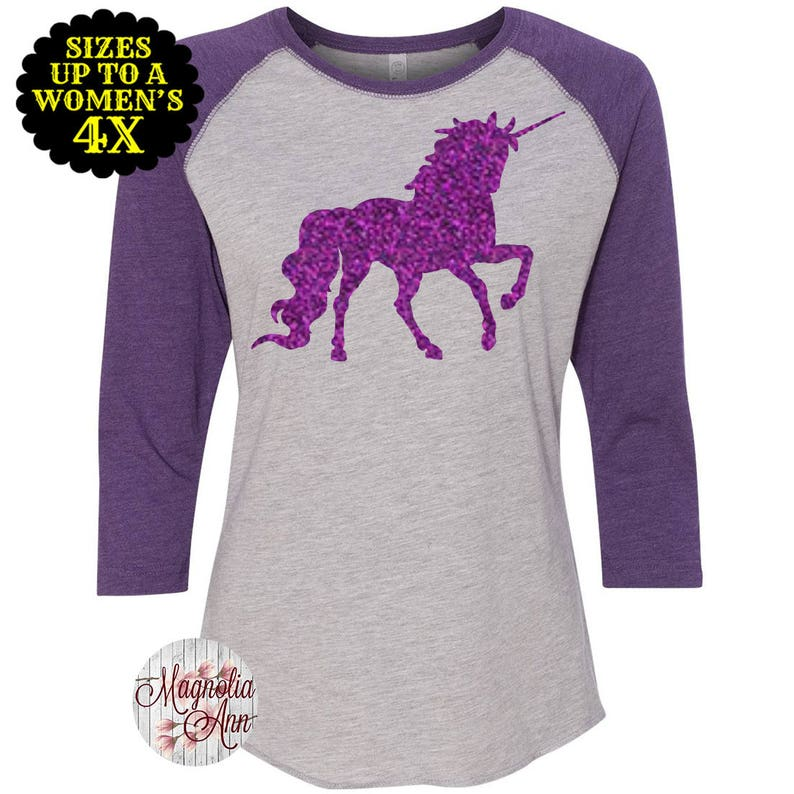 8b47fb5b3 Unicorn Women's Baseball Raglan Shirt Plus Size Clothing | Etsy