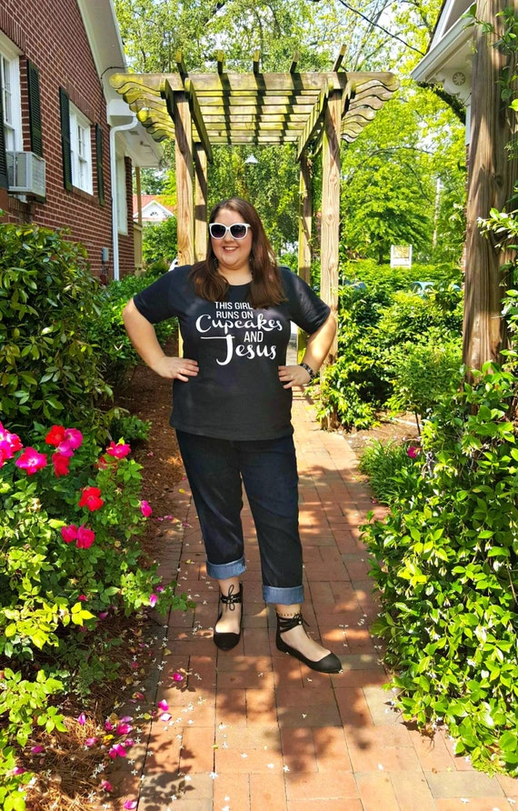 This Girl Runs On Cupcakes & Jesus Women's Graphic T-shirt in 7 Colors in Sizes Small-4X, Plus Size