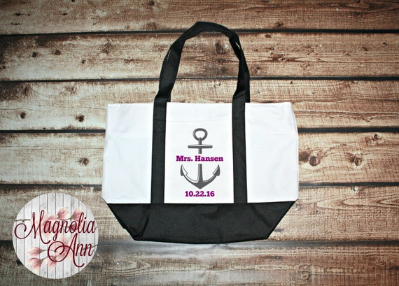 Custom Mrs Bride Anchor Wedding Date Large Boat Tote Bag in 3 Colors