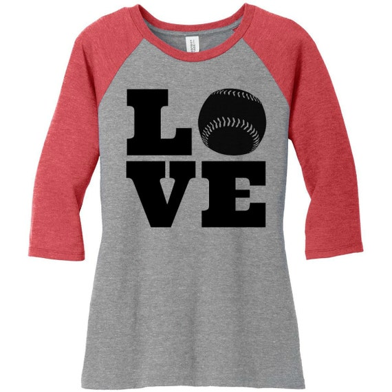 Love Baseball, Sports, Raglan 2 Tone 3/4 Sleeve Womens Tops Shirts in Sizes Small-4X, Plus Size