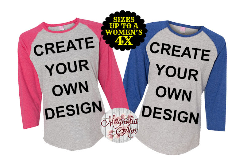 5f0275ca Create Your Own Design Women's Baseball Raglan Tshirt, Plus Size ...