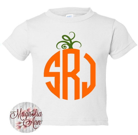 Custom Pumpkin Monogram, Halloween, Thanksgiving, Toddler T-Shirt in 11 Different Colors in Sizes 2T-5/6, Childrens Thanksgiving Shirt
