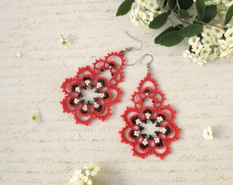 Beauty gift Lovely filigree red earrings Adorable bridesmaid earrings Tatted lace jewelry Romantic gift for girlfriend Large lacy earrings