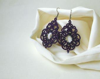 Purple jewelry Anniversary gift for girlfriend  Bohemian jewelry Tatted lace jewelry Art deco earrings Beautiful victorian violet earrings