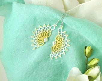 Dangling lace earrings Yellow bridesmaid earrings Tatted jewelry Blue Wedding earrings for bride Chandelier earrings Boho everyday earrings