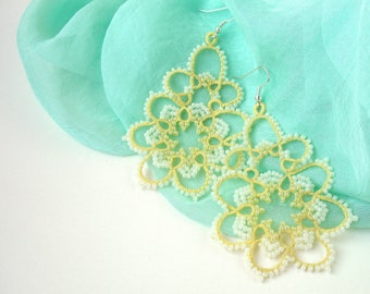 Yellow earrings for bride Beautiful tatting lace jewelry Big bohemian prom earrings Anniversary gift/for/wife under 25 Dangling lace earring
