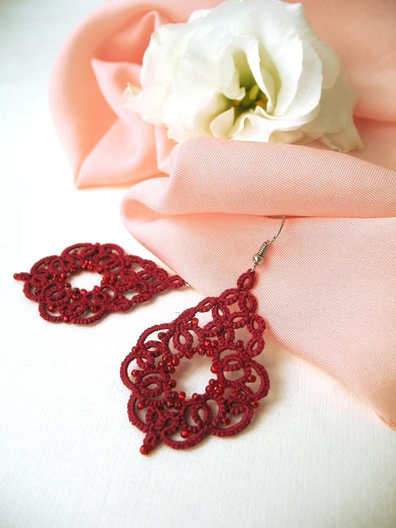 Lovely tatting lace earrings Cute wine red earrings Coworker gift for woman Boho chic jewelry Beautiful bridesmaid jewelry Drop earrings