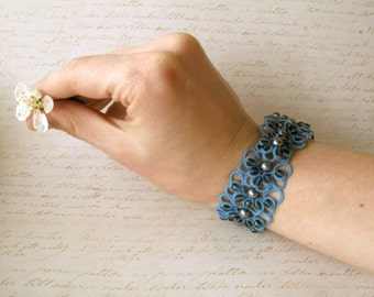 Statement woman bracelet Tatting lace cuff bracelet Valentine's gift for woman Something blue beaded bracelet Tatted  jewelry Elegant bangle