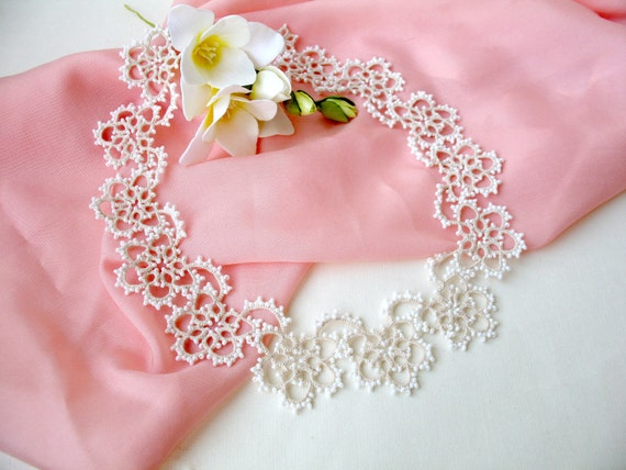 Victorian Bib Necklace For Bride Nude Wedding Jewelry Flower Etsy