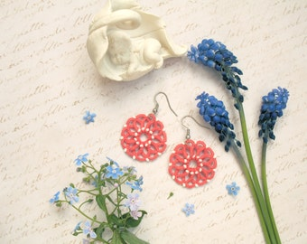 Lightweight pink lace earrings Tatted lace jewelry gift for friend Coral delicate earrings Round Chandelier earrings Lovely earrings