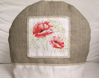 Covers teapot (Tea cozy) Sweatshirt two-tone linen poppies pattern