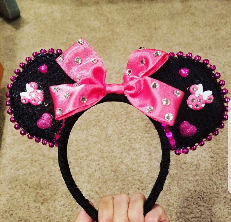 Sequin Minnie Mouse Ears bling minnie mouse ears hot pink image 0