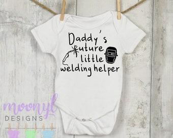 4a1548211 Daddy's Future Little Welding Helper, Fathers' Day, Mechanic, Tools,  Welder, Daddy's Little Helper, Baby Shower Gift, Unisex Kids' Clothing