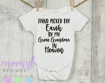 Hand Picked For Earth By My Grandma In Heaven Baby Vest Bodysuit Gift Present