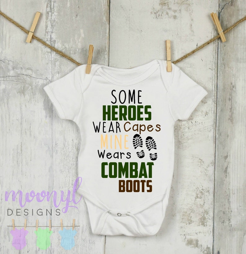 4d0e2f00607a Some Heroes Wear Capes Mine Wears Combat Boots Onesie®, Army Baby  Announcement, Army Dad Baby Announcement Onesie®, Baby Shower Gift