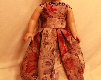 """Queen with a Beaded Cape 18"""" Doll Dress Ballgown"""