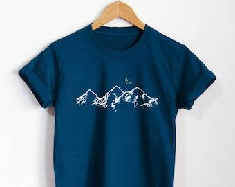 5c807254 Mountains Shirt Cute T-Shirt Hills Nature Tumblr Unisex Clothing Top Tee