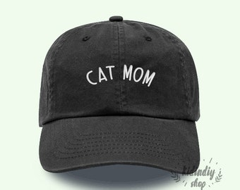 f4cdf3e735a2a Cat Mom Cap Baseball Hat Embroidered Father Baseball Caps Low Profile  Unisex Size