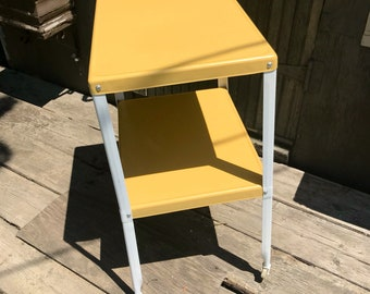 Vintage Metal Serving Cart, Kitchen Cart, Yellow Kitchen