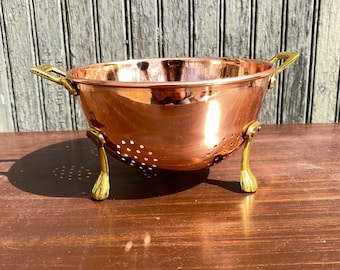 Rustic Copper Colander with Brass Handles Aged Farmhouse Kitchen Dining Decor