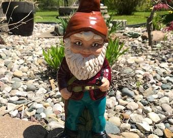 Garden Gnome Vintage hand painted Stoneware