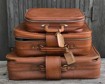 Vintage Brown Suitcase  Leather Set of 3