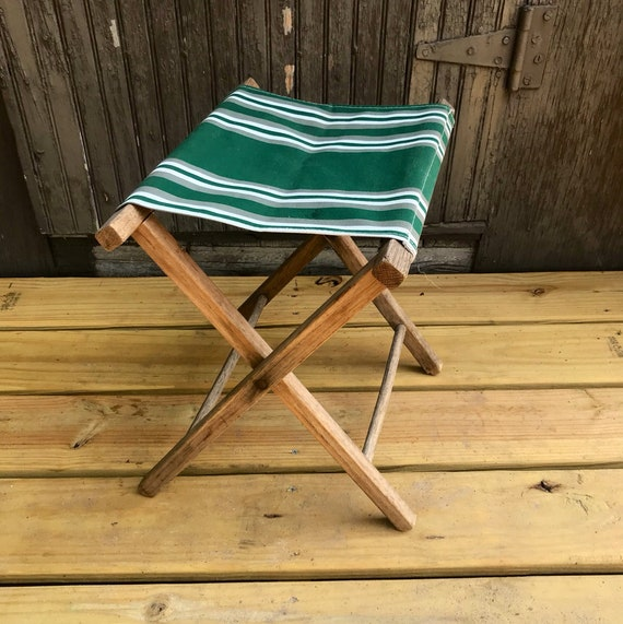Vintage Folding Camping Chair Canvas Wood Foot Stool Rest   Etsy