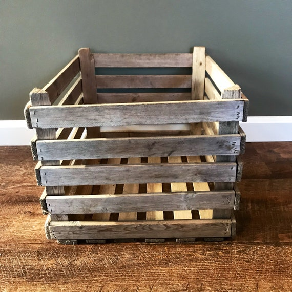 Vintage Wooden Produce Crate Slat Wooden Produce Crate Wooden Box Vintage Wood Crate