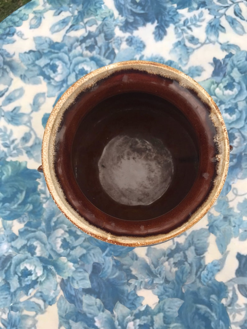 USA Vase Planter Vintage Brown Drip Stoneware Flower Pot